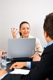 Business woman explaining at meeting Stock Photo