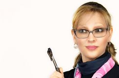 Business woman explaining or teaching pointing with a pen stock photo