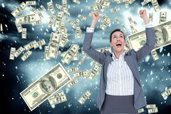 Business woman expresses her joy against falling money background. Digital composite of business models with falling money Stock Image
