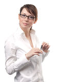 Business woman with eyeglasses Royalty Free Stock Photos