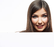 Business woman face looks out advertising billboar Stock Image