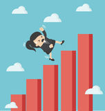 Business woman falling down graphic chart Stock Photos