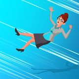 Business Woman Falling Down Vector. Finance Miskate, Business Bankruptcy, Work Crisis. Failure. Fall To The Bottom vector illustration