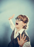 Business woman with fear expression Royalty Free Stock Image