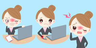 Business woman feel pain. Cute cartoon business woman feel pain and upset Stock Photos