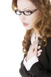 Business woman feeling heart pain Stock Image