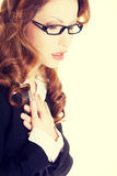 Business woman feeling heart pain Royalty Free Stock Image