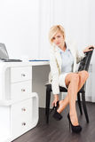 Business woman feet pain wear high heel new shoes Royalty Free Stock Photo