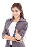 Business woman, female executive giving thumb up hand gesture Royalty Free Stock Photo