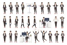 Business woman or female office worker dressed in smart clothing in different postures, moods, situations and expressing. Various emotions. Flat cartoon vector illustration