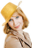 Business woman in a festive gold hat Royalty Free Stock Photo