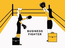 Business Woman Fighting in Ring vector illustration