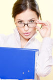 Business woman with file and eyeglasses Stock Photo