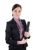 Business woman with file folder Stock Image