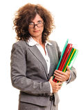 Business woman with file folders Stock Image
