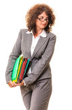 Business woman with file folders Stock Photos