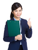 Business woman with file and hand give thumb up gesture Stock Image
