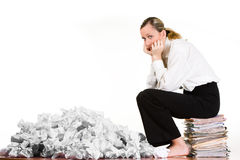 Business woman on files Royalty Free Stock Images