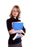 Business woman with files. Royalty Free Stock Image