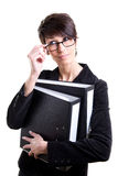 Business woman with files Stock Photos