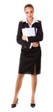 Business woman with files and books Royalty Free Stock Photography