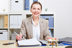 Business woman with files in office stock images