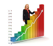 Business woman - Financial graph. Smiling business woman standing near a colored 3d rendered photo-realistic financial graph - Isolated - Financial growth Stock Photo