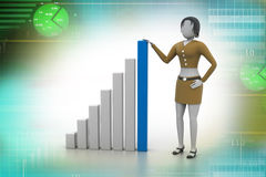 Business woman and financial graph. Business woman standing near the financial graph Royalty Free Stock Photography