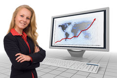 Business woman - financial growth - presentation. Photo of a young business woman combined with a 3d rendered monitor and keyboard showing financial growth chart Royalty Free Stock Image