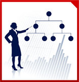Business woman with financial structure diagram Stock Photography