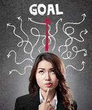 Business woman finding the way to reach goal. Business woman concentration finding the way to reach goal Royalty Free Stock Photography