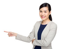 Business woman with finger point out Stock Images