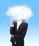 Business woman finger point to cloud Stock Photos