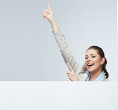 Business woman finger pointing Royalty Free Stock Photos