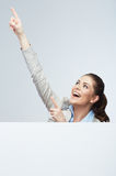Business woman finger pointing Stock Photo