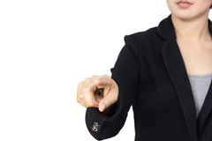 Business woman finger pointing. On white background Royalty Free Stock Photos