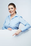 Business woman finger show to white banner Royalty Free Stock Photography