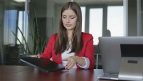 Business woman finishes work with documents in the office. stock video footage