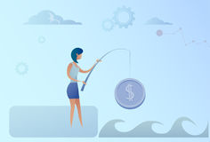 Business Woman Fishing Money Coin Strategy Success Finance Growth Concept Royalty Free Stock Photography