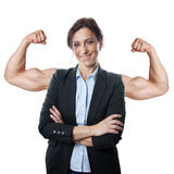 Business woman flexing muscles Royalty Free Stock Photo