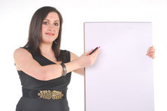 Business Woman with flip chart and pen Royalty Free Stock Image