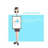 Business Woman With Flip Chart Seminar Presentation Financial Graph Report. Flat Vector Illustration Royalty Free Stock Photos