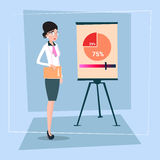 Business Woman With Flip Chart Seminar Training Conference Brainstorming Presentation Financial Graph. Flat Vector Illustration Stock Images