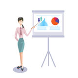 Business Woman With Flip Chart Seminar Training Conference Brainstorming Presentation Financial Graph. Flat Vector Illustration Stock Photo