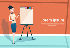 Business Woman With Flip Chart Seminar Training Conference Brainstorming Presentation Stock Photo