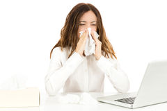 Business woman with flu Stock Photography