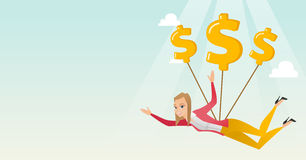 Business woman flying with dollar signs. Stock Images