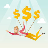 Business woman flying with dollar signs. Royalty Free Stock Photography
