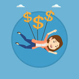 Business woman flying with dollar signs. Royalty Free Stock Photos
