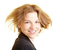 Business woman with flying hair Royalty Free Stock Photo